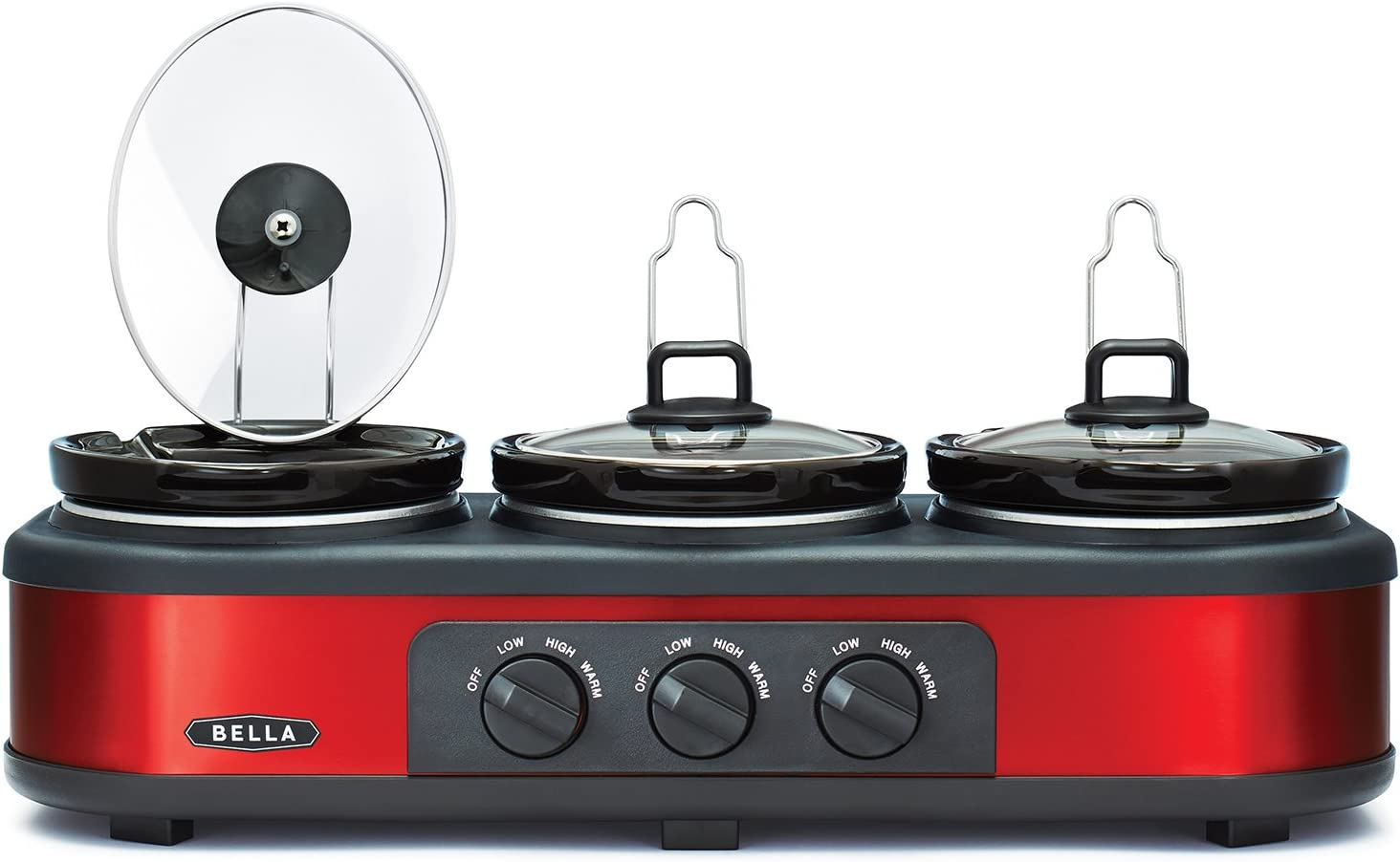 BELLA Triple Slow Cooker and Buffet Server, 3 x 1.5 QT Manual Red