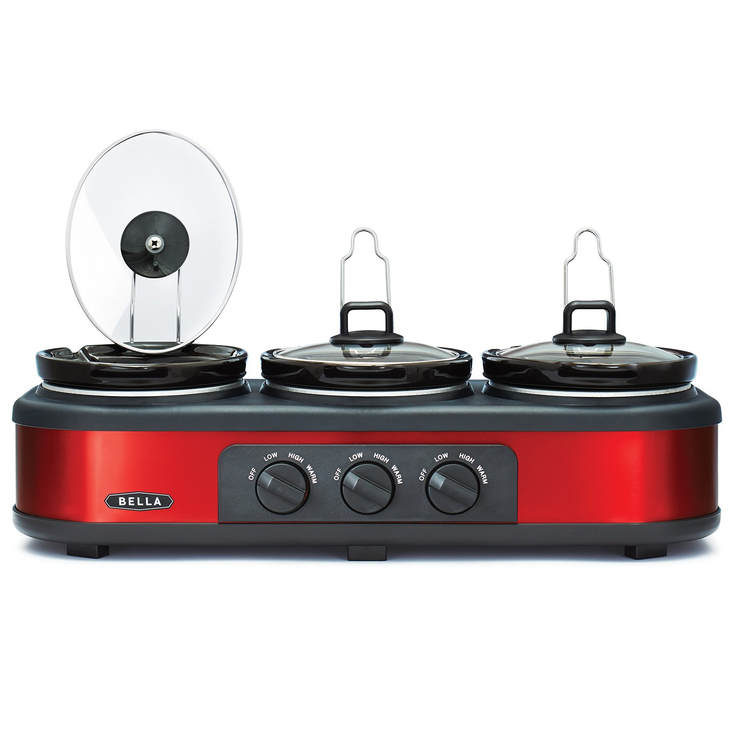 Amazon: Bella Triple Slow Cooker And Buffet Server, 3 X 15 Qt Manual  Red: Bella Triple Buffet Server Crock Pot: Kitchen & Dining