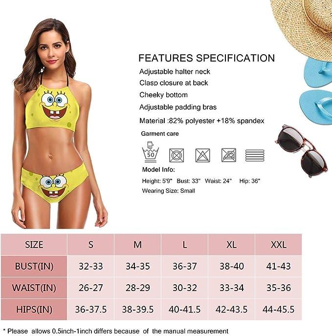 Conjunto de bikini halter para mujer, diseño de Bob Esponja ...