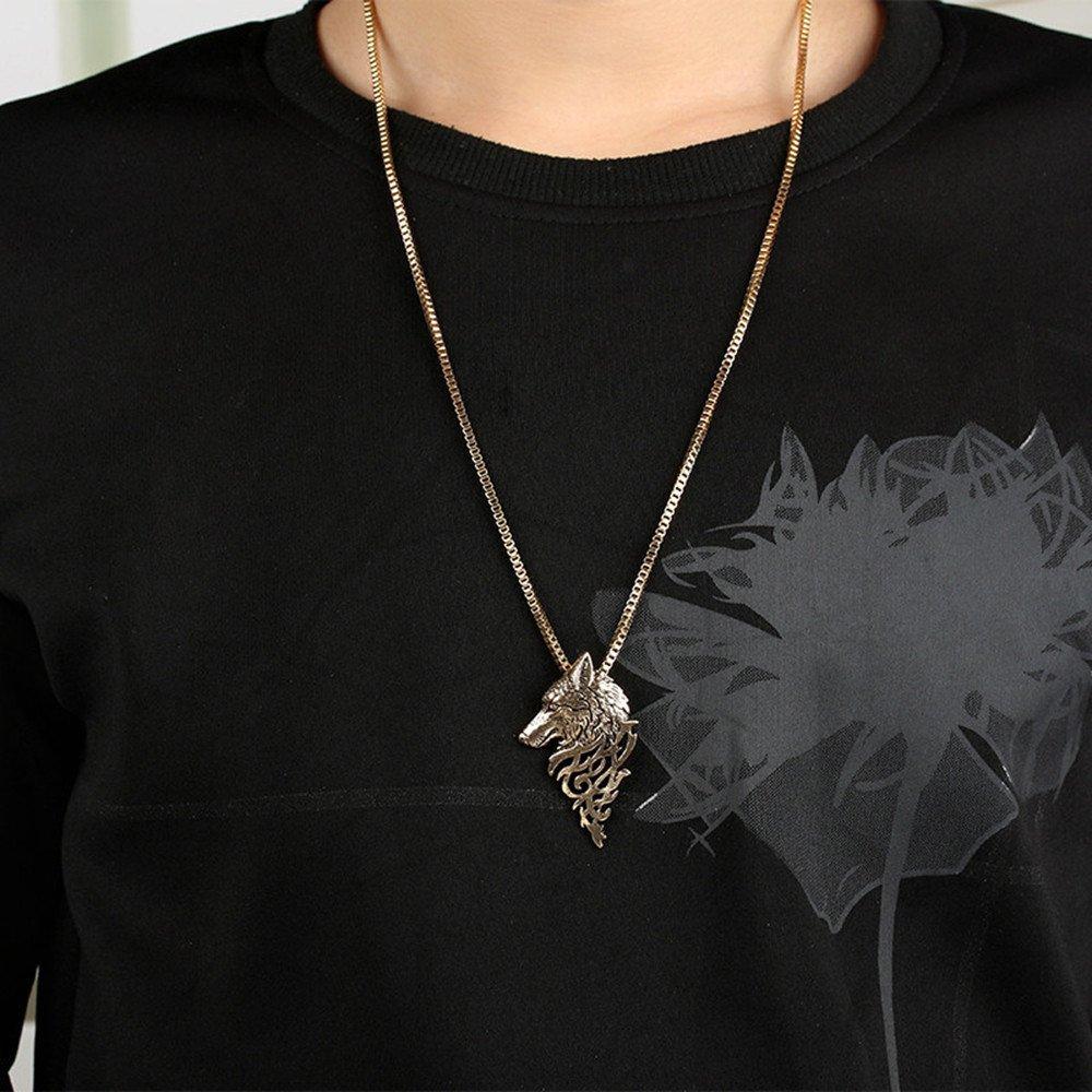 Unisex Necklace Vintage Wolf Head Shape Pendant Necklace Gift for Women Men Mixpiju (Black) by Mixpiju-Jewelry (Image #3)