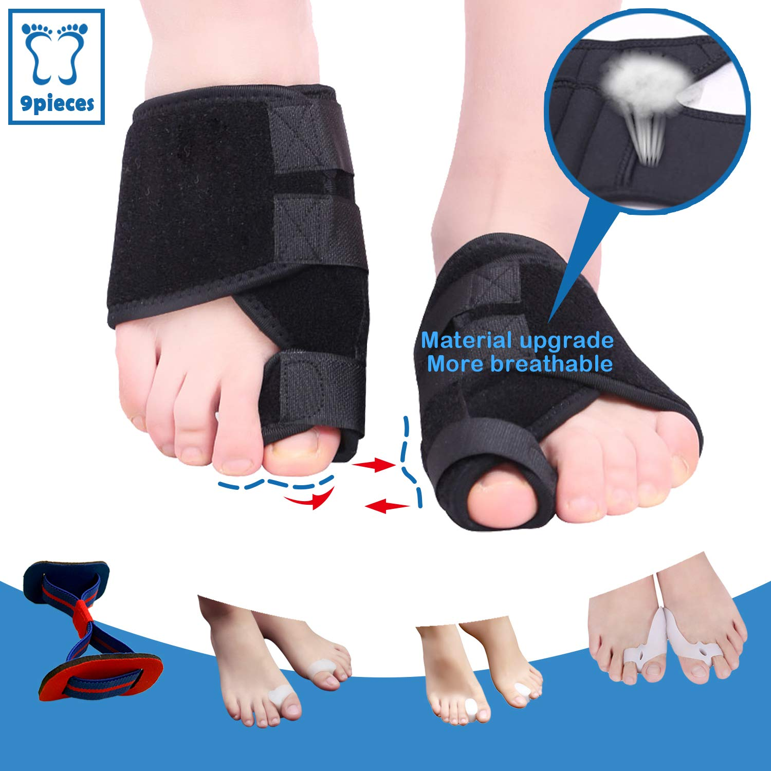 Bunion Corrector and Toe Separators Suit,Treat Pain in Hallux Valgus,Orthopedic Bunion Splint,Adjustable Orthopedic Big Toe Straighteners Foot,Big Toe Exercise Strap,Overlapping Toe, Toe Spacers,9Pcs by LiAon