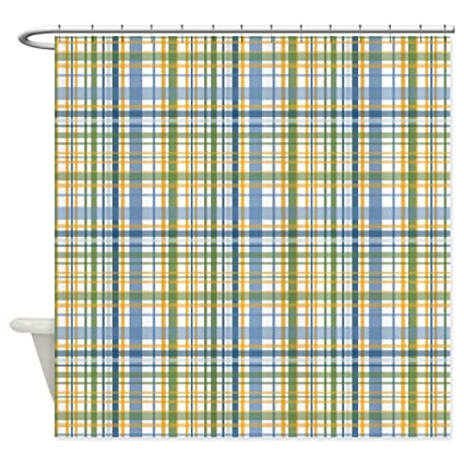Amazon CafePress Blue Green Yellow Plaid Print Shower Curtain