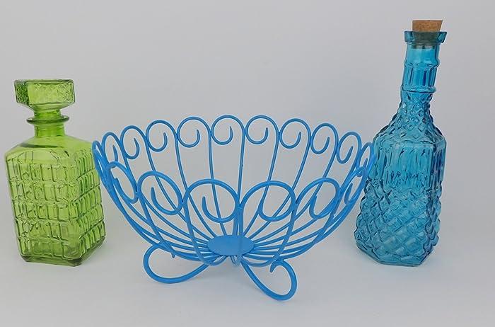 Amazon.com: Wire Basket Ocean Blue Round Table Centerpiece: Handmade