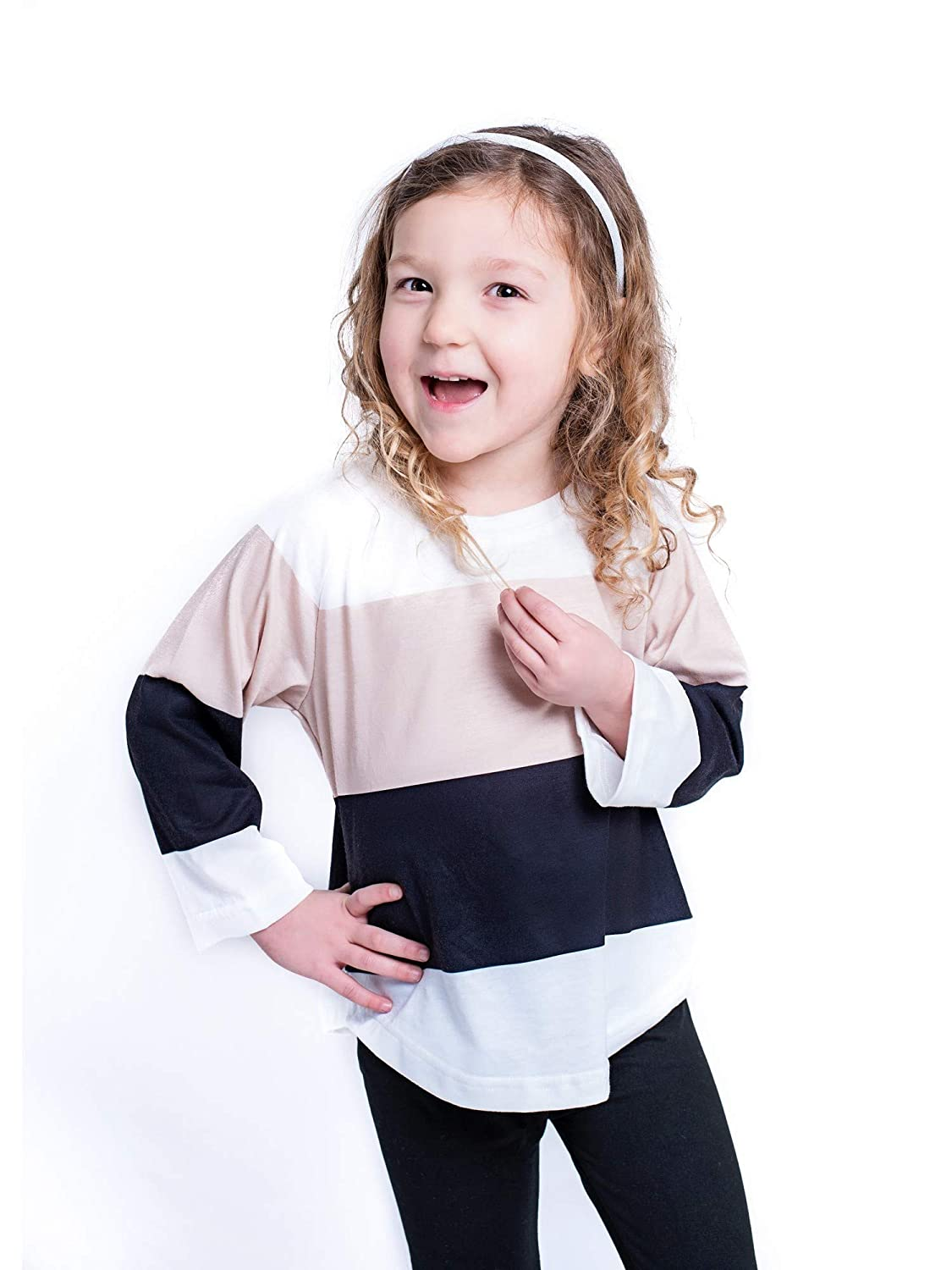 Mayah Kay Girls White Contrast Panel Design Long Sleeved Blouse 2T-8
