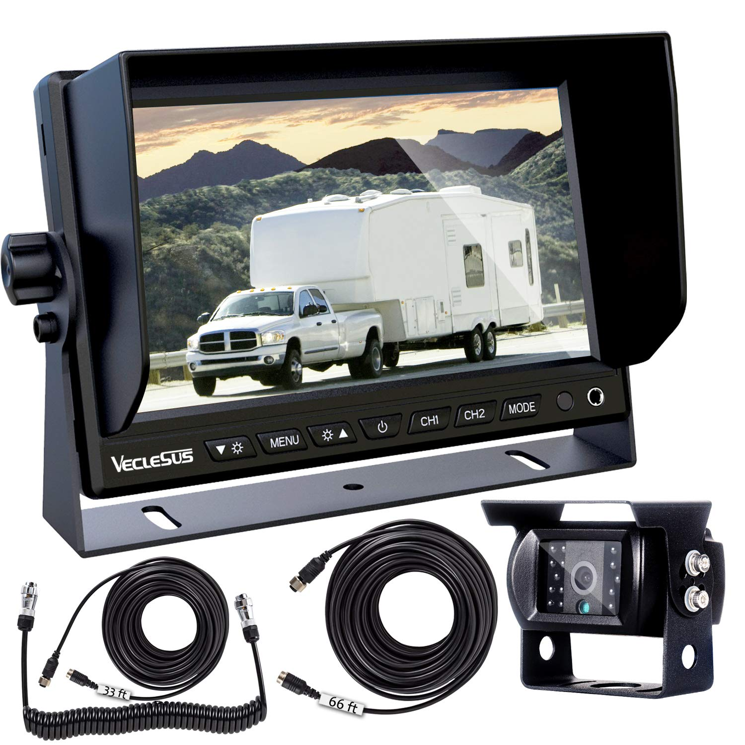 VECLESUS Backup Camera Kit for Semi-Trailer Truck, 7'' Wide Monitor with Infrared Night Vision IP68 Waterproof Backup Camera for Truck Trailers, Motorhome, Semi-Trailer, Semi Truck, Tractor by VECLESUS