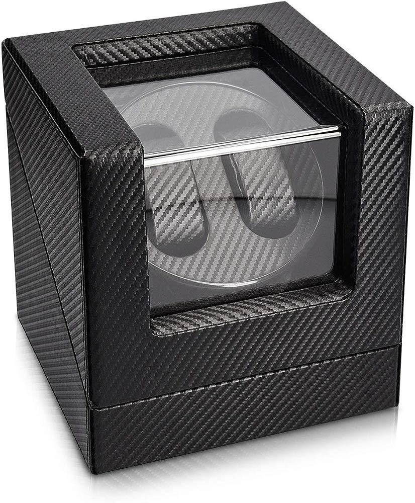 Navaris Caja giratoria para Relojes - Estuche Giratorio - Vitrina de Movimiento para 2 Relojes de 20x18x18CM con 4 Modos