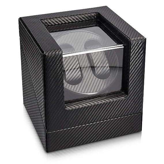 Navaris Caja giratoria para Relojes - Estuche Giratorio con Look de Fibra de Carbono - Vitrina de Movimiento para 2 Relojes de 20x18x18CM con 4 Modos