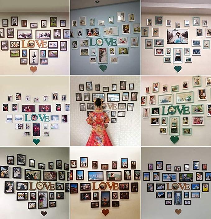 ... De Madera Maciza Foto De Decoración De Pared con Forma De Corazón Decoración Creativa De La Sala De Estar, Que Muestra Fotos De Familiares Y Amigos, ...