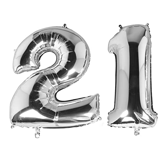 TRIXES 21 Globos Cumpleaños - Plata Metálica - Número de 40 ...