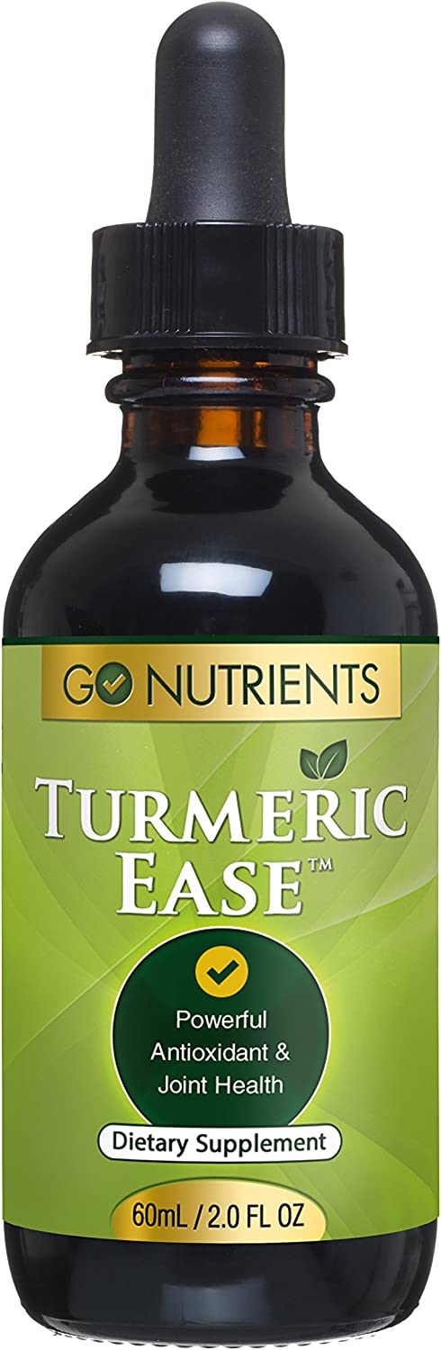 Turmeric Ease - Liquid Turmeric Curcumin with Black Pepper & Ginger Extract, High Potency Organic Drops for Joint Pain & Inflammation Relief, 1243mg - 2oz