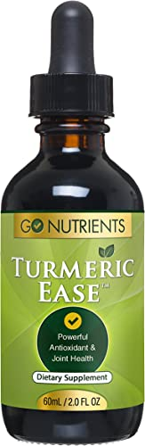 Turmeric Ease – Liquid Turmeric Curcumin with Black Pepper Ginger Extract, High Potency Organic Drops for Joint Pain Inflammation Relief, 1243mg – 2oz