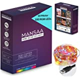 MANSAA® USB String Lights for Decoration 10M 100 LED USB Powered RGB String Light (Indoor, Outdoor, Kids Room, Diwali, Christmas, Balcony) Made in India, RGB Light, 1 Pack
