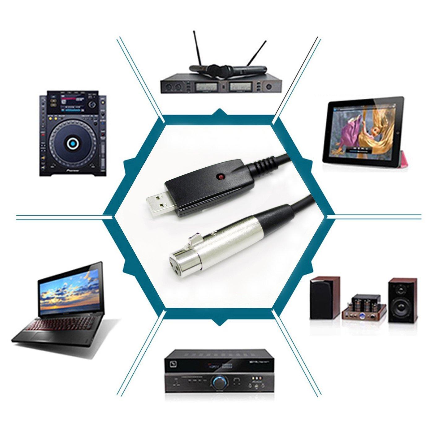 LoongGate Cable de micr/ófono USB a XLR 3 pines USB macho a XLR Cable de conversor de enlace de micr/ófono femenino Cable de audio de Studio Cable de conexi/ón Adaptador para micr/ófonos o instrumentos Grabaci/ón Canto de ka