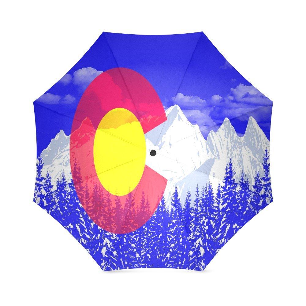 カスタムコロラド州旗コンパクト旅行防風防雨折りたたみ式傘 B075WCLP2M