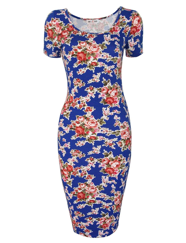 TAM WARE Women's Sweetheart Short Sleeve Midi Dress TWCWD053