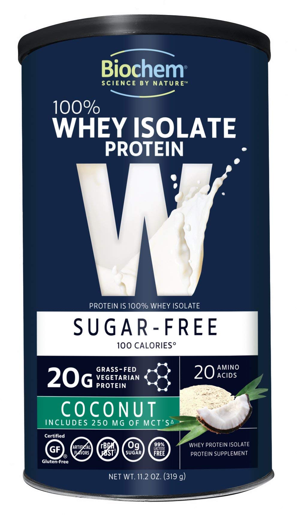 Biochem 100% Whey Isolate Protein - 11.2 oz - Sugar Free Coconut - 20g Vegetarian Protein - Keto-Friendly - Amino Acids - May Help Support Immune System - Easy to Mix - Magnesium