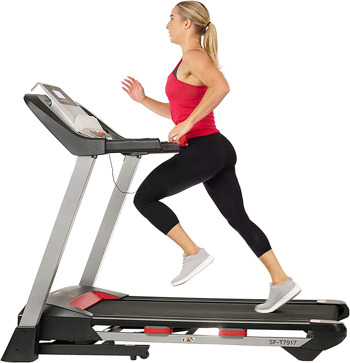 Amazon.com : Sunny Health & Fitness Electric Folding Treadmill with LCD and Pulse Monitor, 265 LB Max Weight, Tablet Holder, Bluetooth Speakers and USB Charging - SF-T7917, Black : Sports & Outdoors