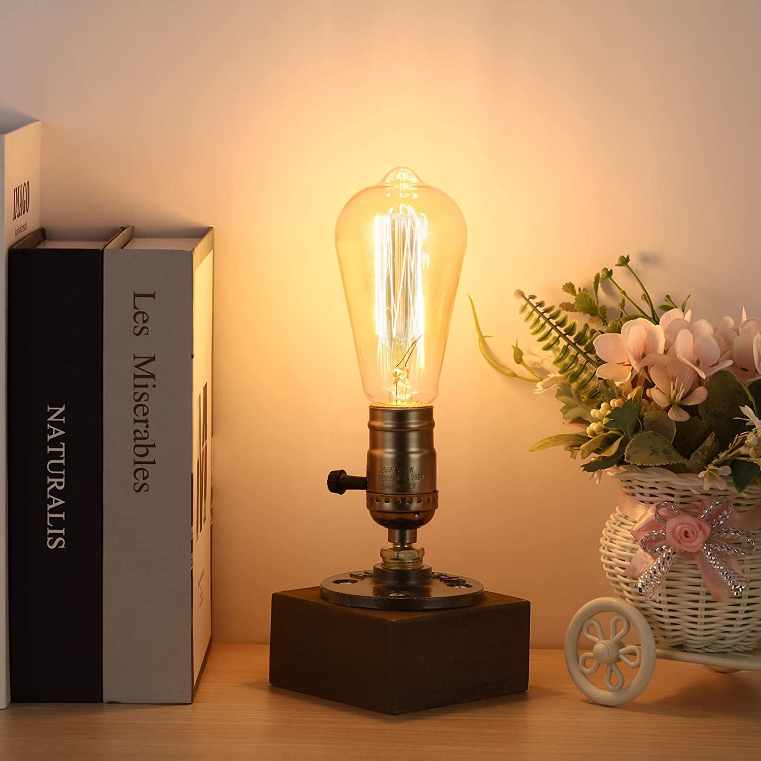 Retro Table Lamp Base, Vintage Desk Lamp Small Industrial Light Steampunk Lamp for Home Bar Café Dining Room Restaurant Lighting Decor(Without Bulb)
