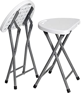 Zimmer Folding Stool (Set Of 2) Portable Plastic Chair With Durable Steel  Frame Legs