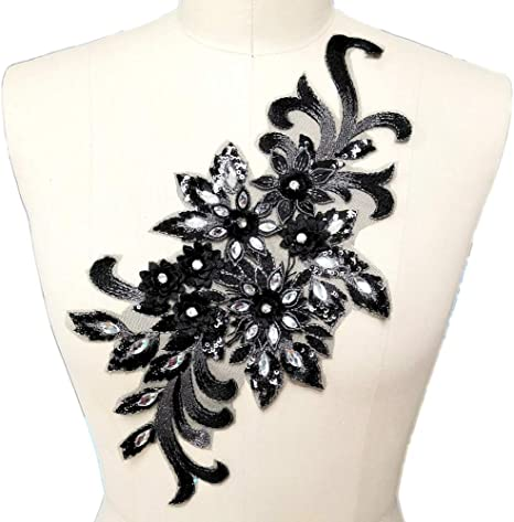 """2 3//8/"""" Black White Vinyl Grommet Two Layer Five Petal Flower Embroidery patch"""