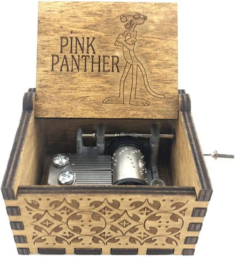 Cuzit - Caja de música con diseño de pantera de madera tallada con manivela para regalo de cumpleaños: Amazon.es: Juguetes y juegos