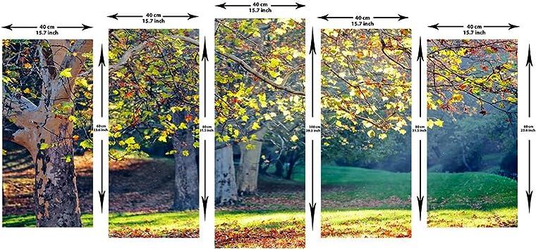 999store múltiples árbol impreso verde hojas enmarcado lienzo pintura, madera, Multicolor, SIZE - Medium2: Amazon.es: Hogar