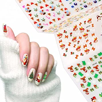 Amazon 24 Pack 3d Christmas Xmas Nail Art Sticker Manicure