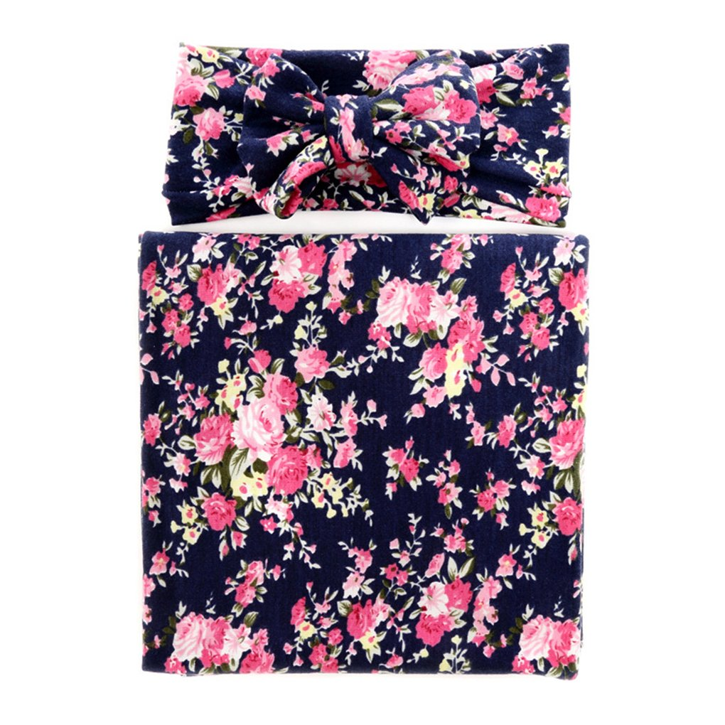 Ufraky Muslin Swaddle Blanket Floral Print Cotton Receiving Blankets Headband Set, 31.5x31.5 (Dark Blue)
