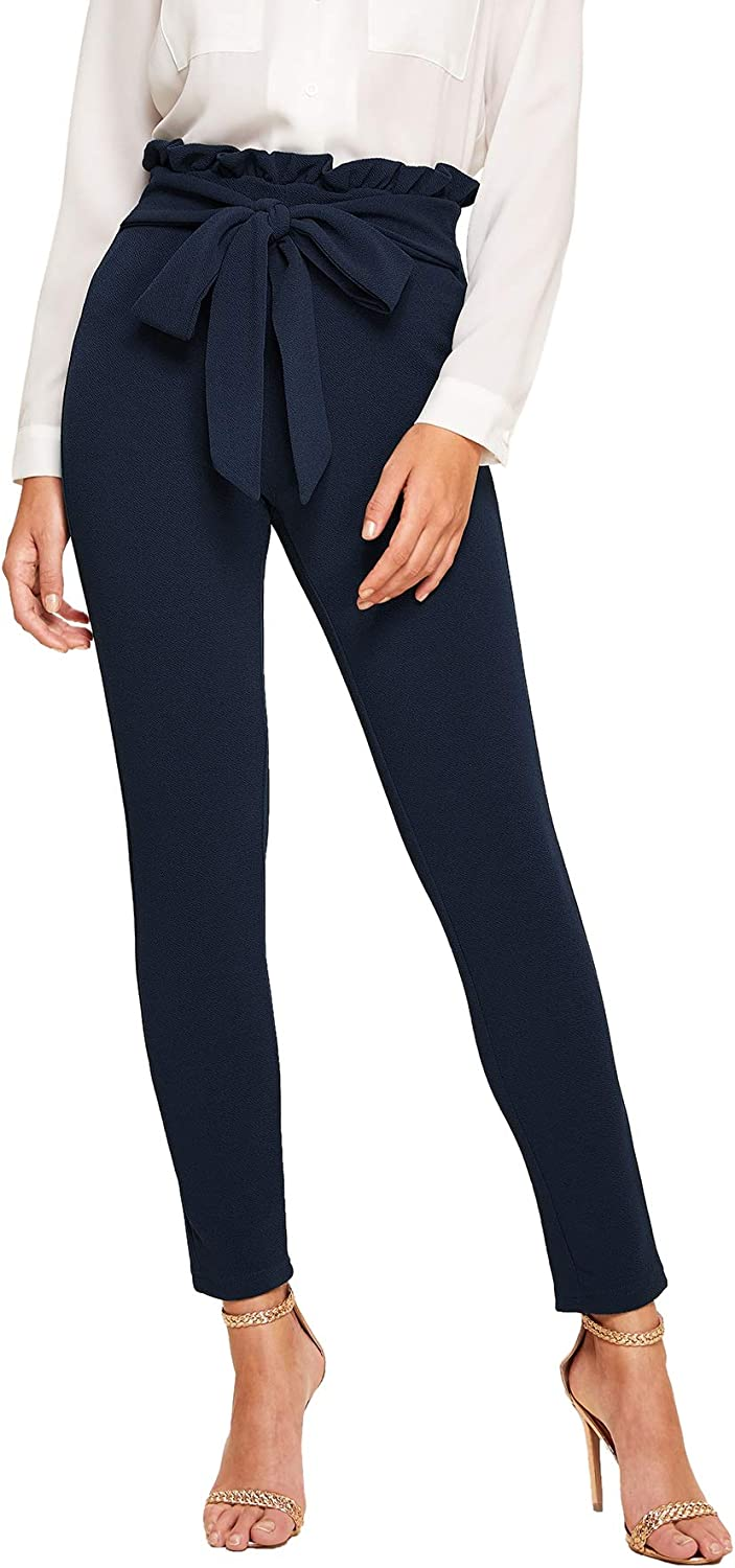 Floerns Women's Stretchy Workwear Office Skinny Pants with Belt