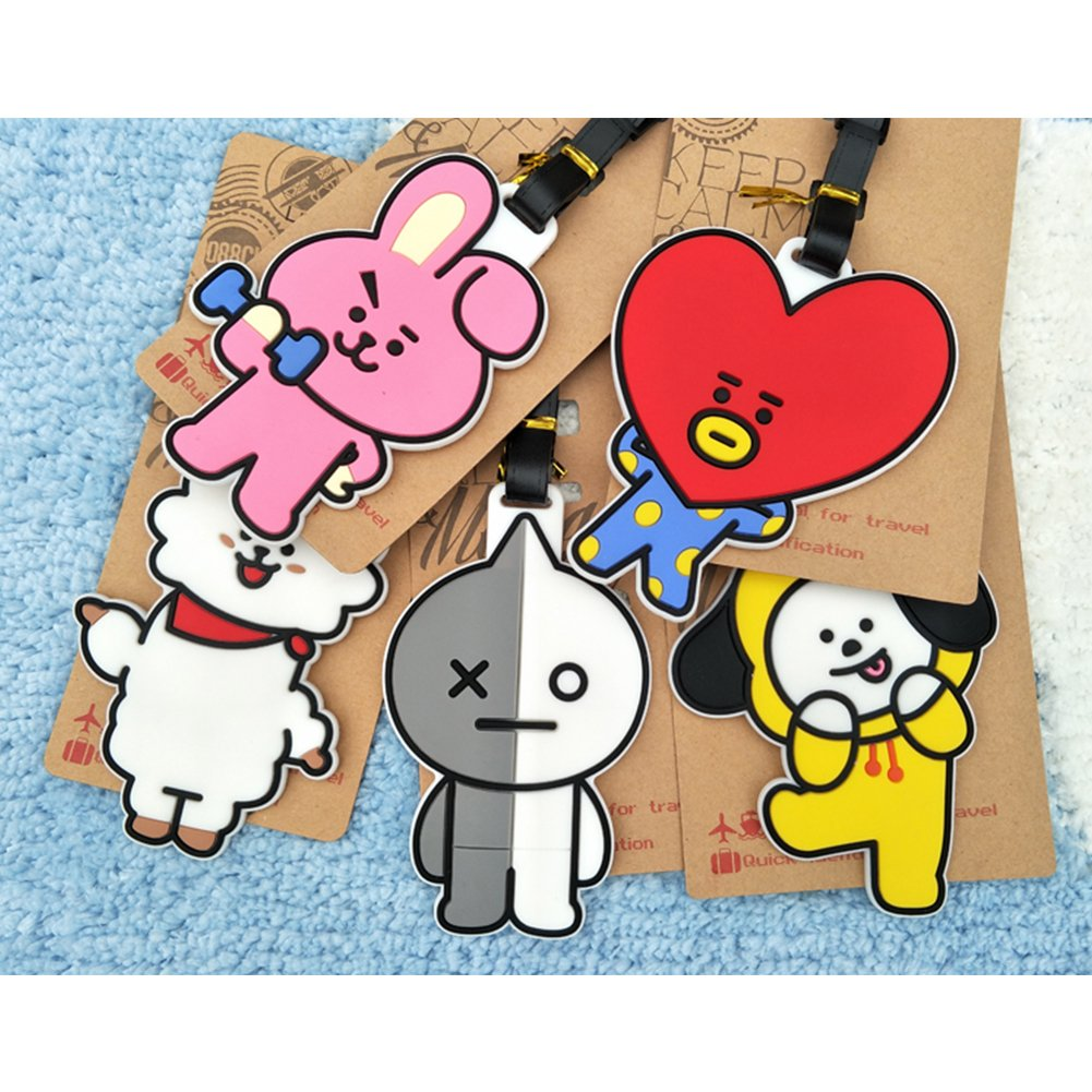 amazon co jp bts cute cartoon bt21 travel luggage baggage tags name