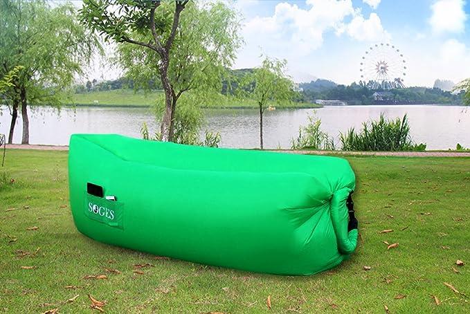 soges cómodo tumbona hinchable para exteriores counch lamzac Bean Bag aire hamaca sofá sofá kaisr Original bolsa de aire, verde: Amazon.es: Deportes y aire ...