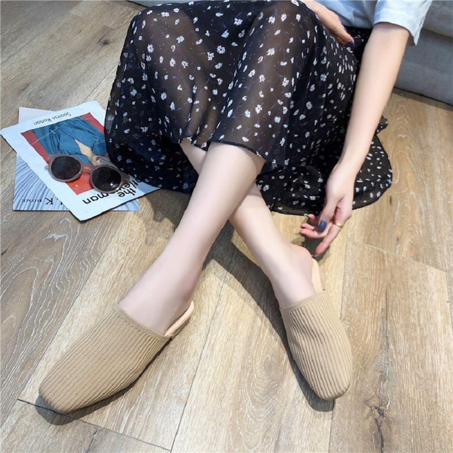 Elastic Knitting Women Slide Slippers Custom Spring Women,