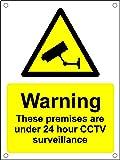 Avertissement locaux Protection 24heures de surveillance caméra de vidéosurveillance A5en plastique Panneau pré-percés.
