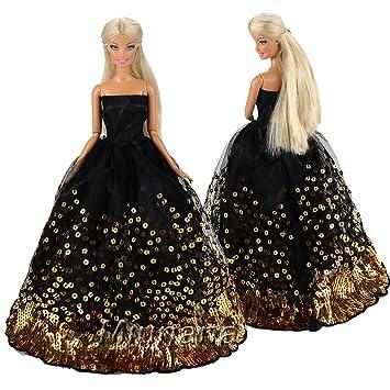 Miunana 1 Vestido de Noche Bordado Buen Calidad Ropa Elegantes Princesa Vestir Fiesta para Barbie Muñeca