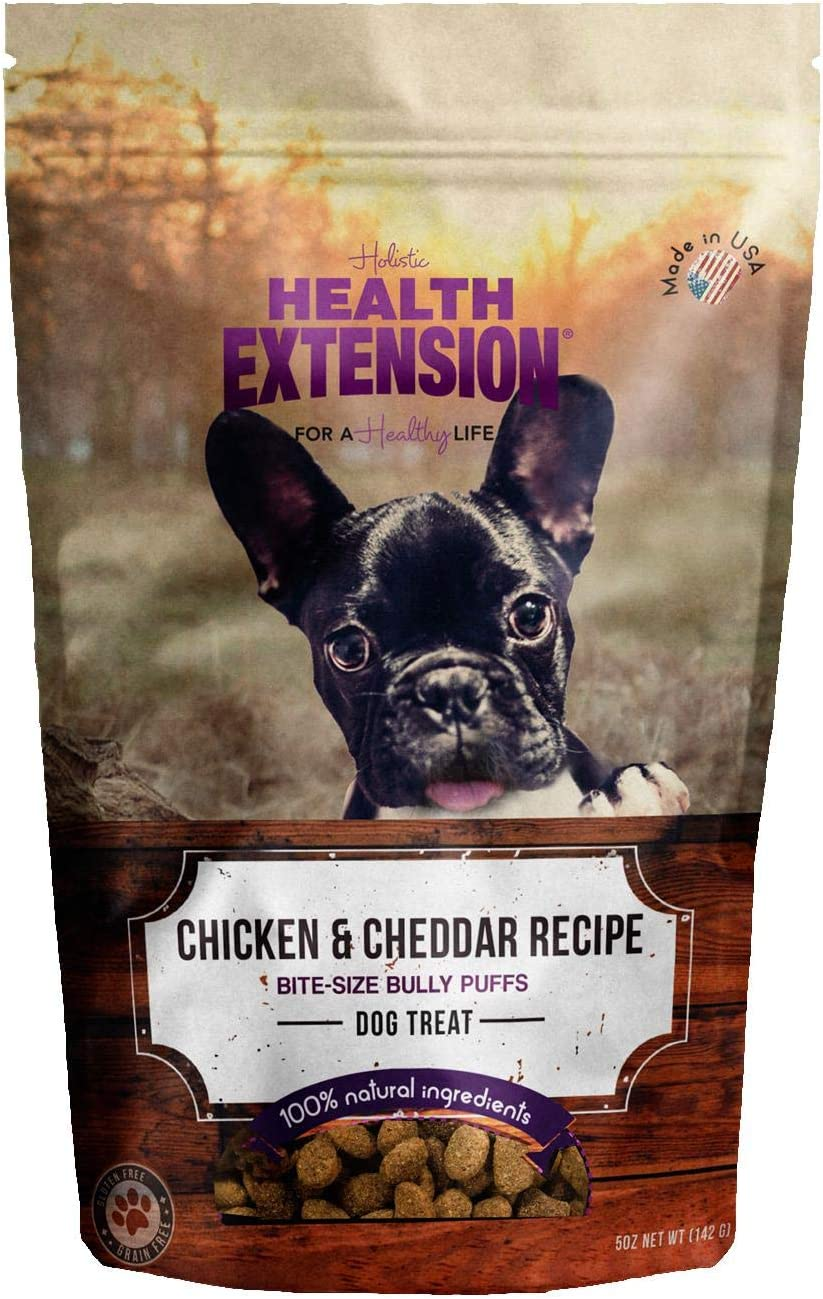 Health Extension Bully Puffs Dog Treat, Chicken And Cheddar