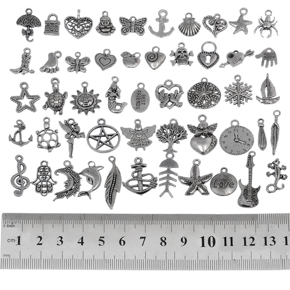 RUBYCA 50Pcs Bulk Mixed Silver Charms for Jewelry Making Bracelet Small Pendants for Necklace Antiqued Silver Color - Just Like the Picture (Mix1)