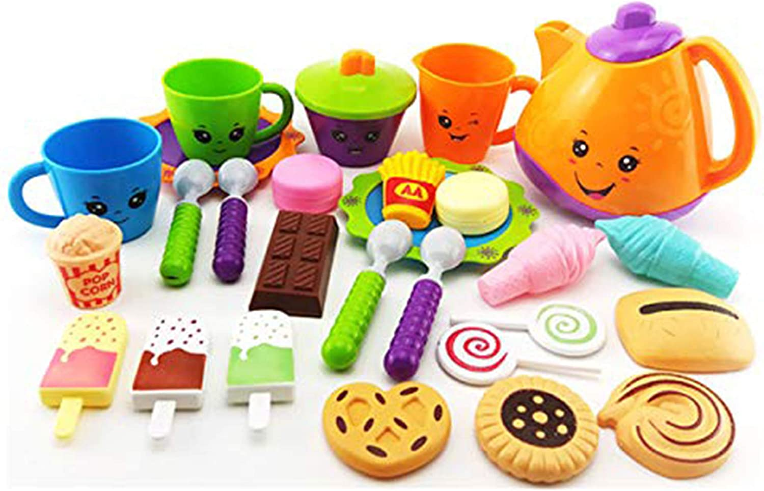 BAIVYLE Kitchen Toys Tea Party Pretend Playset for Kids - Fine Skills Development ,Pretend Play Girls Cookware Set for Toddlers 3 Years(28pcs)