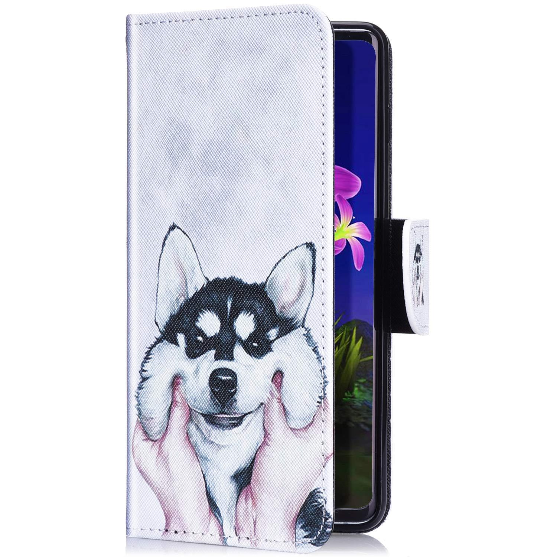 Panda Herbests Estuche compatibles con Huawei P Smart 2019 PU Cuero Funda con Tapa Flip Case Cartera Carcasa Ranuras para Tarjetas Soporte Plegable Antichoque Protective Cover