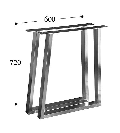 CHYRKA T- Estructura para tableros de Mesa Diseño pie de Mesa Acero Inoxidable 201 60x30 Comedor Mesa Estructura Pata (720x600 mm - 1 par)