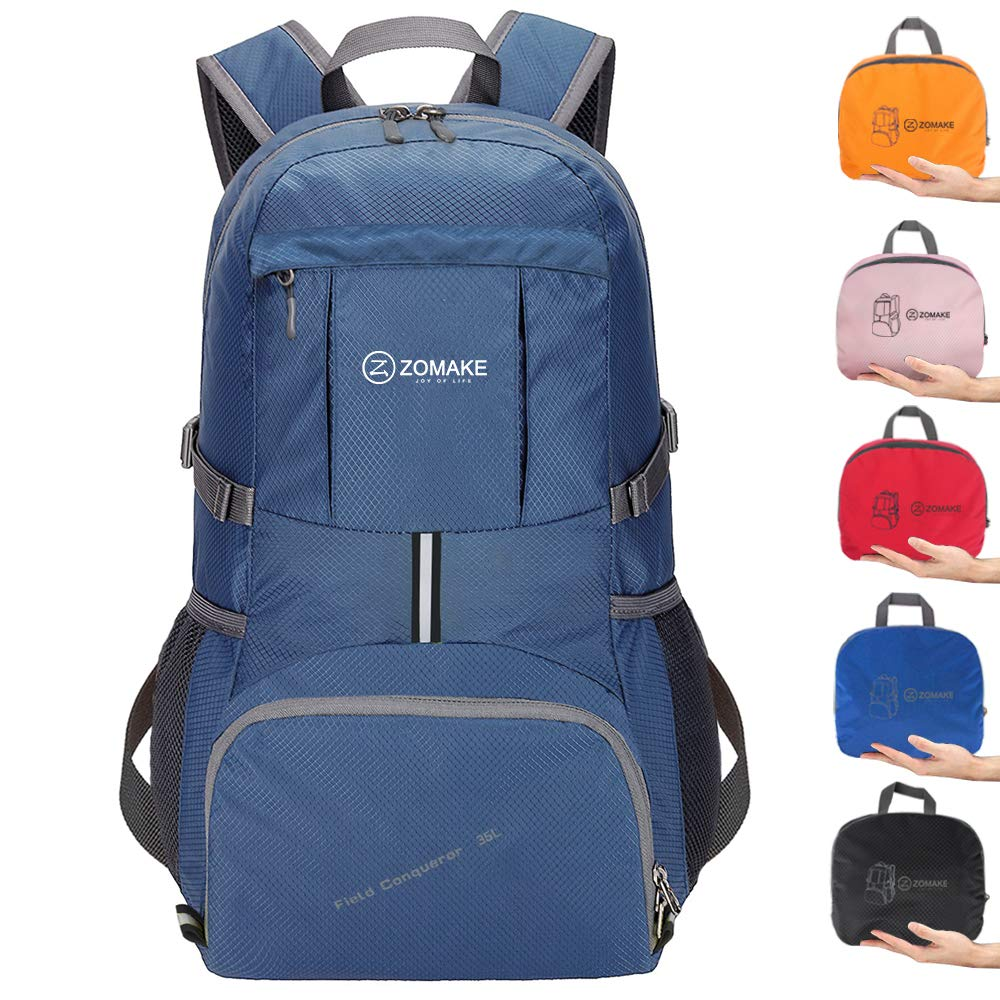 ZOMAKE Ultra Lightweight Hiking Backpack, 35L Packable Water Resistant Travel Backpack Foldable Daypack Outdoor Camping(Jewelry Blue)