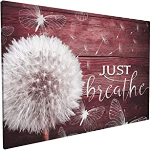 HANKCLES Farmhouse Wall Art Rustic Flower Pictures Just Breathe Canvas Prints Paintings Framed Dandelion Floral Artwork Home Decor for Living Room Bedroom Bathroom Ready to Hang 16x24 inch