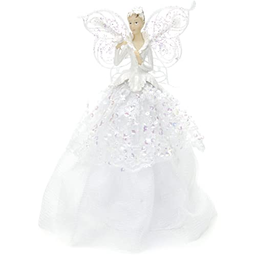 festive productions fabric angel christmas tree topper 23 cm white