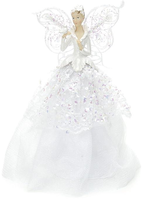 Angel Christmas Tree Topper.Festive Productions Fabric Angel Christmas Tree Topper 23 Cm White