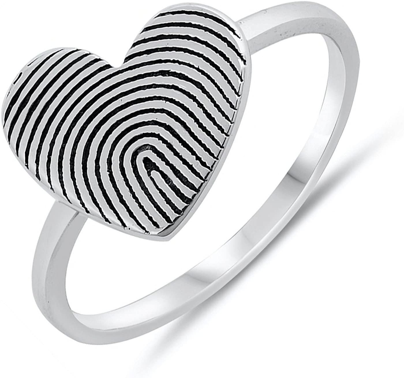 Sterling silver heart ring handmade 12mm band ring 925