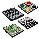 JJOnlineStore - 4 Popular Classic Fun Travel Board Games - Snake And Ladder Checkers Chess Ludo Compact Mini Magnetic Dice Game Folding Box Set Gift Present Xmas Christmas Birthday Party