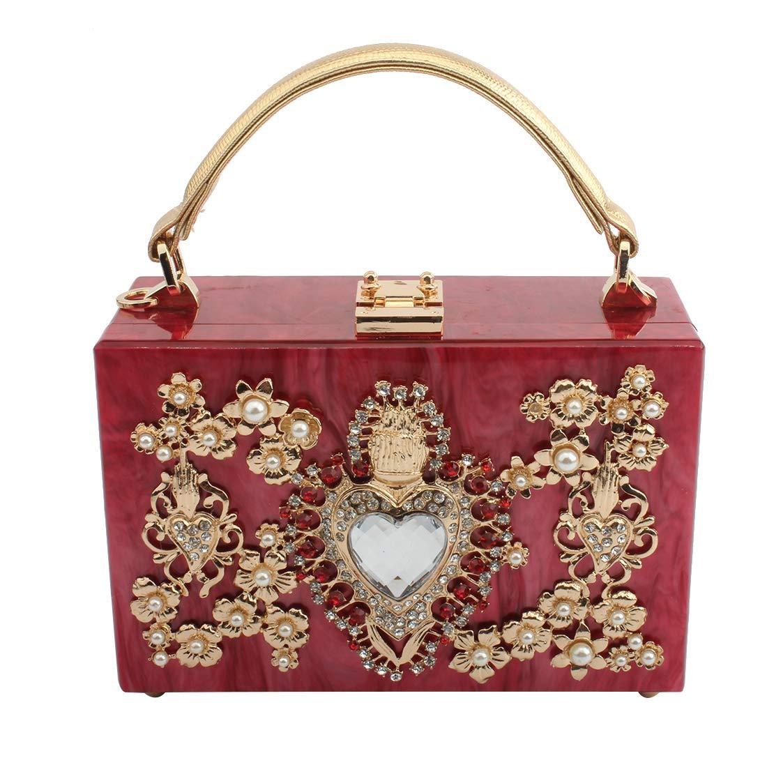 LETODE Women' Sparkling Crystal Clutch Purse Elegant Acrylic Evening Bags Wedding Party Handbag Pursey (RED)