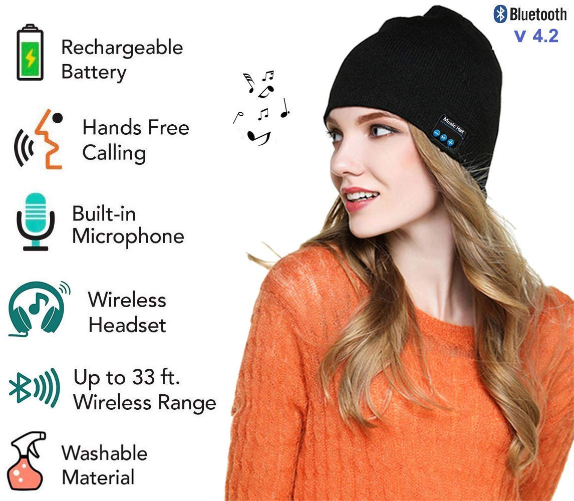 Bluetooth Beanie Winter Hat Unisex 4.2 Wireless Smart Musical Headphone Headset Washable Knit Beanies Speakerphone Cap with Built-in Mic &...