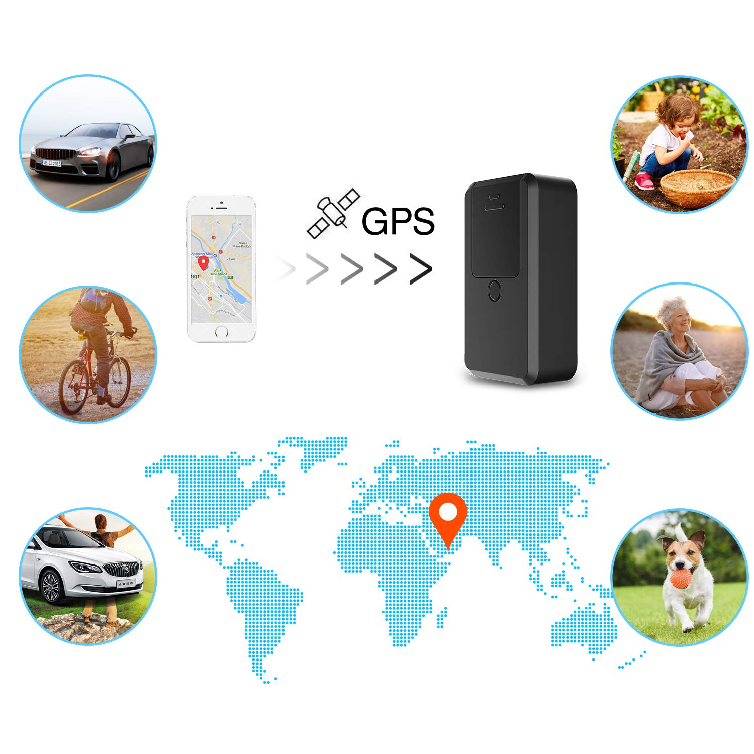 Mini GPS Tracker,Kimfly GPS Tracker Anti-thief GPS Tracking Device SMS Locator Global Real Time tracking for Car/Vehicle/Motorcycle/Bycicle/Kids/Wallet/Documents/Bags with App for iOS and Android