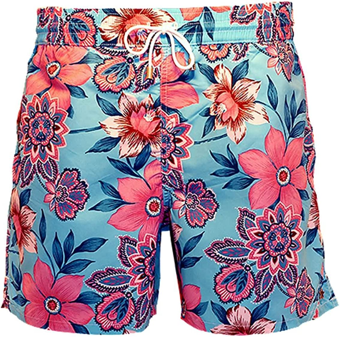 Bayahibe Swimwear Short Slim Fit Quick Dry French Swim Trunk for Men Blue with Pink Flowers