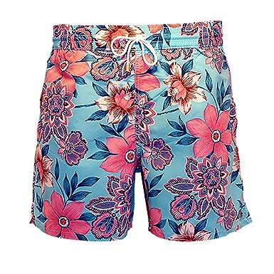 512b4897d9 Bayahibe Men´s Swimwear Shorts Quick Dry French Turquoise/Pink Flowers  Print Handmade Swim